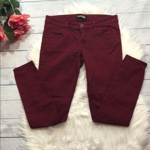 Express Maroon Mid Rise Skinny Jeans